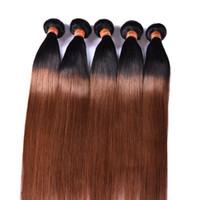 iki ton remy paketi toptan satış-TUTKU Ombre Saç Ürünleri 1B / 30 Brezilyalı Remy İnsan Saç Atkı 3 Demetleri Iki Ton Renk Malezya Perulu Düz İnsan Saç Uzantıları