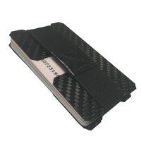 deri fiksasyonu toptan satış-2mm kalınlığında 2 plakalar kumaş ile karbon fiber cardholder para bant deri sabitleme 17mm derin kartları almak kolay
