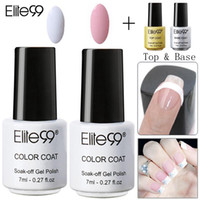 Wholesale best gel polish base coat resale online - Elite99 Nail Care Equipment Set Pink White with Tip Guides Top Coat Base Coat French Manicure Tool Best on ml