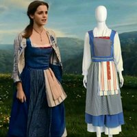 Wholesale Maid Set - 2017 Movie Beauty and the Beast Princess Belle Maid Dress Cosplay Costume Full Set Outfit Custom Made