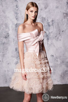 Wholesale Reem Acra Blue - Gorgeous Blush Short Cocktail Dresses REEM ACRA 2017 Off-Shoulder Tiered Skirts Sexy Mini Party Prom Dress A-Line Arabic Homecoming Gowns