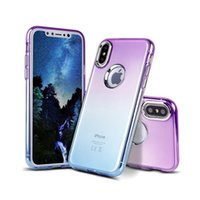 Wholesale Transparent Coloured Iphone Cases - For iphone X 5.8 inch iphonex Gradient Color Change Colour Soft Tpu Blectroplated Button Case Slim Skin Transparent Back Cover Shell