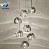 Wholesale Spheres Led Lamp - Modern clear crystal glass sphere ball chandelier mizu 3 5 7 15 26 head pendant lamp ceiling lamp round stainless steel base