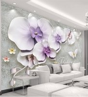 Wholesale Chinese Painting Jewelry - Wall Panel Wallpaper Marble Diamond Jewelry Magnolia Background Modern Europe Art Mural for Living Room Large Painting Home Decor