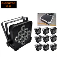 TIPTOP Good Stage Effect Light 9 * 12W 4in1 DMX Slim Led Par Light RGBW Tyanshine Ventilateur Refroidissement Alimentation IN / OUT 10IN1 Flightcase Pack avec roues
