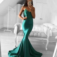 Wholesale Cheap Dresses Evening Gowns Online - Cheap Halter Mermaid Prom Dresses V Neck Sheath Long Evening Dresses Dark Green Backless Evening Prom Gowns 2017 Online Sale