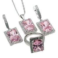 Wholesale Pink Kunzite Rings - Jewelry Sets 925 Sterling Silver Beautiful Sparkle Pink Topaz Kunzite Necklace Earrings Ring Size 6 Nice Quality Free Shipping