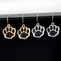 Wholesale Gold Earrings For Babies - Silver Gold Plated Black Dog Paw Earrings Cute Animal Baby Jewelry Brincos Dangle Earrings For Women Wholesale Accessories
