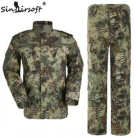 Wholesale Army Camo Uniforms - High Quality! Mandrake Army hunting camo clothing Tactical Cargo SHIRT+PANTS Camouflage Combat Uniform Us Army Airsoft Camo BDU frog suit