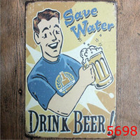 Wholesale Tin Plated Sheet - 20x30cm Vintage Tin Signs IT IS BEER Metal Sheet Plates Shabby Chic Bar Club Wall Decorations Metal Painting