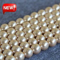 Wholesale Gold Seashell Charms - New For Necklace&Bracelet Accessories 12mm Light Yellow Shell pearl Seashell gift for women girl loose beads Jewelry 15inch