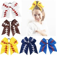 "Wholesale Wholesale Glitter Hair Bows - 7"" Large Softball Team Baseball Cheer Bows Handmade Yellow Ribbon and Red Glitter Stiches with Ponytail Hair Holders for Cheerleading Girls"