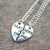 Wholesale Silver Neckalces - 10set lot partners in crime neckalces broken heart neckalce best friends necklace BFF necklaces