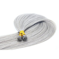 Wholesale 18 Loop Extensions - 16''-26'' 1g strand 100s lot Grey Color Double Drawn Nano Ring Loop Human Hair Extension