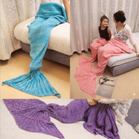 Wholesale Cotton Crib Blankets - 8Colors Adult Chilrden Mermaid Tail Blankets Mermaid Tail Sleeping Bags Cocoon Mattress Knit Sofa Blanket Handmade Living Room Sleeping Bag