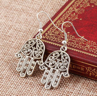 Wholesale fatima hand earring for sale - Vintage Silver Earrings Hamsa Hand Hollow Hand of Fatima Dangle Fish Ear Hook Earrings Punk Women Party Eardrop