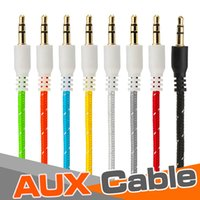 x audio del coche al por mayor-Trenzado AUX 3.5mm estéreo auxiliar de audio del coche cable de extensión del cable de 3 pies 1 m con cable macho a macho para el iPhone X 8 iPod iPad MP3 Headphone Speaker