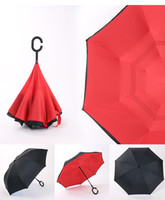 Wholesale Creative hands free stand up double layer reverse umbrella straight sunny umbrella outdoor male and female car straight handle advertising