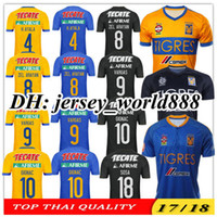 Wholesale H Shirts - TOP QUALITY 17 18 Mexico club Tigres UANL Yellow home soccer jersey 5 Stars GIGNAC Vargas H. Ayala SOSA 2017 away blue football Shirt