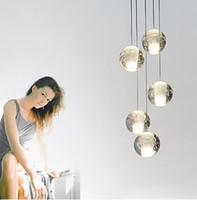 Wholesale G4 Led Lamp Indoor - 5 Heads Crystal Ball Modern LED Pendant Light Fixtures Dinning Room Hanging Lamp Indoor Lighting Luminaire Lamparas Colgantes LLFA