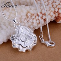 Wholesale Simple Charms Heart Large Flower Rose Silver Plated Pendants Necklaces Romantic Classic Jewelry Accessories for Women HFNE0805