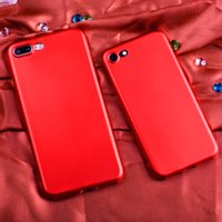 Wholesale Pure Black Case Iphone - 2017 Product Red Case for iPhone 7 6 6S Plus Luxury Pure Colors Coque Case Ultra Thin Soft TPU Back Cover