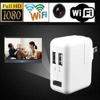 Wholesale Power Adapter Hidden Camera - 1080P Wifi USB Power Adapter camera EU US UK Plug No Hole Wireless Surveillance charger Hidden Camera Real Wall AC Plug Spy camera