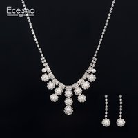 Wholesale Diamond Jewellery For Girls - Simulated Pearl Bridal Wedding Jewelry Sets Silver Plated Flower Necklace Earrings Sets Engagement Jewellery Set for Women Gifts