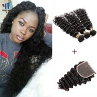 Wholesale Raw Indian Hair Curly - Indian Deep Wave with Closure Color 1B Raw Virgin Indian Brazilian Peruvian Human Hair 3 Bundles With Lace Closure Deep Curly Virgin Hair