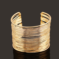 Wholesale 18k Gold Wire Wholesale - European and American new fashion women iron wire cuff bracelets gold-plated and silver-plated bracelet jewelry accessories