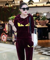 Wholesale Gold Velvet Sportswear - Women 's new gold velvet students embroidered sweater casual sportswear two - piece suit