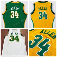 Wholesale Team Jerseys For Cheap - Hottest 34 Ray Allen Jersey Seattle Supersonics Ray Allen Basketball Jerseys Cheap Embroidery For Sport Fans Team Color Green Yellow White