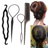 Wholesale Hair Stick Pull - 4Pcs Set Plastic Hair Braid Styling Tools Pull Hair Clips Stick Hairpins Hair Comb DIY Bun Maker Twist Styling Clip Accessories