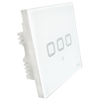 Wholesale Touch Panel Iphone 3g - smart home 3 gang touch screen glass panel wifi light wall switch with android mobile iPhone app remote control by 2g 3g 4g wifi network