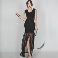 Wholesale Tight Sexy Mermaid Dresses - Spring, summer, sexy socialite package hip club dress v-neck lace temperament of cultivate one's morality evening dress tight dress