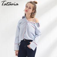 Wholesale Ladies Feminine Clothing - Women Striped Shirt Off Shoulder Female Clothing Blusas Mujer De Moda Long Sleeve Sex Tops Ladies Feminine Blouses Garemay