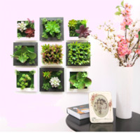 Wholesale Wall Hanging Decoration Piece - 2017 new 3D three-dimensional various artificial plant 15*15cm potted Wall hanging wall poster Home decoration wholesale free shipping