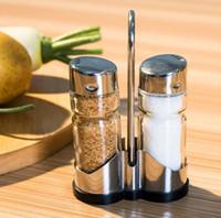 Wholesale Sugar Glass Jars - 2pcs set Glass Spice Jar Seasoning Box Salt Sugar Pepper Bottle for Kitchen Free Shipping