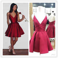 Wholesale Finest Dark Brown - Cheap Burgundy Short Homecoming Dresses Fine shoulder strap Modest Cocktail Party Gown Dark V Neck 8th grade prom dresses