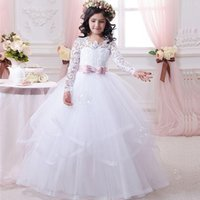 Wholesale Christmas Balls For Sell - 2017 Hot Sell Flower Girls Dresses for Weddings Lovely Sheer Lace Applique Jewel Neck Long Sleeve White A Line Tiered Puffy Communion Dress