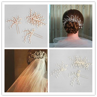 Vintage Wedding Bridal Pearl Hair Accessories Comb Headpiece Crystal Rhinestone U Pins Lot Hair Clips Набор ювелирных изделий из тиары Crown Headdress Gold