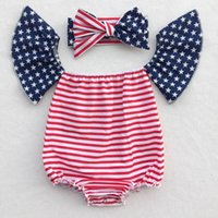 Wholesale Bohemian Jumpsuits - Retail Baby Girls Bodysuits Bohemian Off Shoulder Girl Rompers Jumpsuit Fruit Floral Printing 4th of July Girls Clothing ZD006