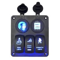 Wholesale Light Car For Cigarettes - Car Switch Panel 3 Gang with Cigarette Socket and Dual USB Slot Blue LED light for Marine Boat Car Rv Vehicles Truck