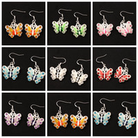 Wholesale Wholesale Butterfly Earrings - Enamel Rhinestone Butterfly Earrings 925 Silver Fish Ear Hook 21pairs lot 7Colors Chandelier Jewelry E1559 22x37mm