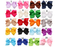 Wholesale Hot Korean Girls - 100 pcs hot sale Korean 3 INCH Grosgrain Ribbon Hairbows Baby Girl Accessories With Clip Boutique Hair Bows Hairpins Hair ties HD3201