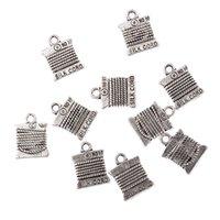 Wholesale Needlework Charms - Wholesale-10pcs Tibetan Silver Bead charms cotton reel sewing thread needlework Pendants 15*11mm