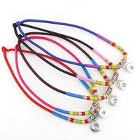 nationale diy großhandel-2017 Austauschbare Bunte Ethnische Tribal Twist Metall 18mm Druckknöpfe Halskette DIY Nationalen Schmuck Charm Halskette