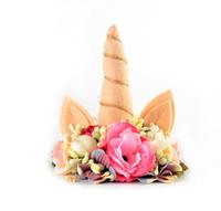 Wholesale Horns Sale - Felt Floral Crown Unicorn Horn Hairband Birthday Unicorn Hair Accessory Photo Prop Baby Headband Hot Sale 10pcs lot