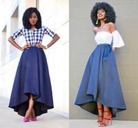 mavi yüksek alçak etek toptan satış-Minnettar Yüksek Düşük Kadınlar Etekler Yüksek Bel Saten Kaplı Moda Mavi Çay Boyu Midi Afrika Siyah Kızlar Örgün Parti Maxi Etekler