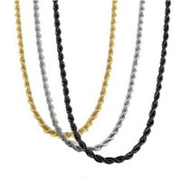 Wholesale Womens Necklace Silver Chunky - Wholsale 3Pcs a Set Mens Womens Stainless Steel Chunky Rope Necklace Chain Set Heavy Metal Silver Black Gold 19.6inch